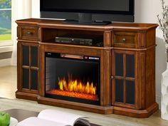 Sinclair Electric Fireplace TV Stand in Aged Cherry - 259-18-48