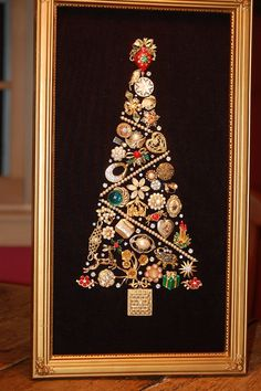 framed costume jewelry christmas tree