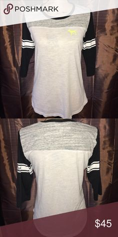 💋Pink Victoria Secret💋 Pink Victoria Secret 3 quarter sleeve Sz Small. No defects, flaws, or stains. Black/white/gray in color w neon yellow logo. True to size. PINK Victoria's Secret Tops Tees - Long Sleeve