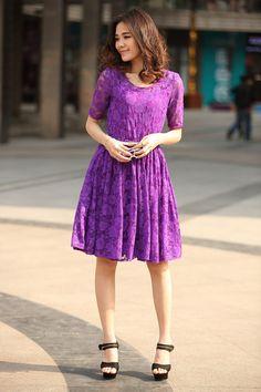 Elbow Length Sleeve Lace Dress