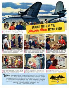 """Part of an ambitious wartime pitch by the Martin Co. for a civilian version of its gargantuan 12,000hp JRM Mars Flying Boat, then in transport service with the U. S. Navy. The """"fotel"""" idea never took off."""