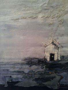 Beach Hut Rain textile art. Laura Edgar www.lauraedgar.co.uk