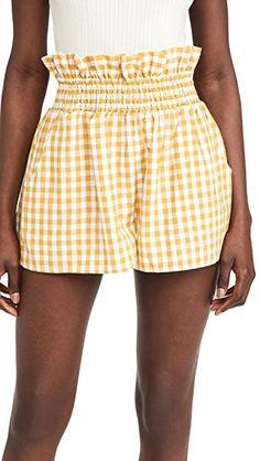 Cute Shorts, Casual Shorts, China Fashion, Printed Shorts, Smocking, Stretch Fabric, Gingham, Gym Shorts Womens, Feminine