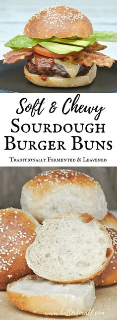 These traditionally fermented Sourdough Burger Buns are super soft and chewy making them perfect for loading with all your favorite toppings! Sourdough Starter Discard Recipe, Sourdough Recipes, Sourdough Bread, Bread Starter, Bread Recipes, Real Food Recipes, Yummy Food, Muffins, Bread Baking