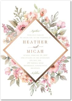 Diamond Blossoms - Signature Foil Wedding Invitations in Aloe or Tea Rose   Lady Jae Minus the foil, I really like this one