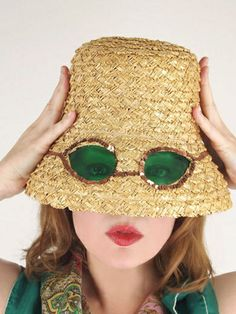 Mid 60s straw bucket hat with built-in sunglasses | Flickr - Photo Sharing!