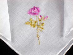 Vintage Satin Embroidered Linen Hankie by littlebitvintage2, $3.99