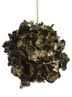 3 Curly Leaf Orb Ornament Green Gold Pack Of 12
