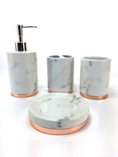 Marble look with rose gold trim French Provincial Bath Gift Set includes liquid soap/lotion dispenser, toothbrush holder, tumbler, and soap dish - Decor - Bathroom Decor