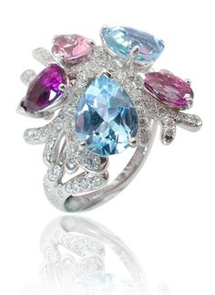 """Corail de nuit"" ring in white gold-diamonds-aquamarines and amethyst by Mathon Paris"