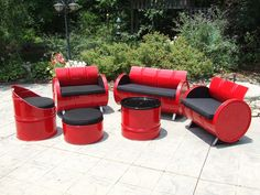 Red Loft Indoor/Outdoor 6 Piece Drum Seating Group Plus
