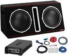 """Boss 12"""" 800W Dual Loaded Car Audio Subwoofer with Box EnclosureAmpKit Package"""