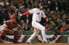 Mike Matheny Photos - Johnny Damon #18 of the Boston Red Sox hits a RBI single to score Kevin Millar #15 during the third inning of game one of the World Series against the St. Louis Cardinals on October 23, 2004 at Fenway Park in Boston, Massachusetts. - World Series: Cardinals v Red Sox - Game 1