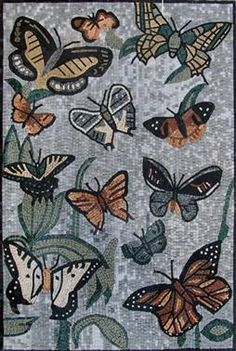 Butterflies Marble Mosaic Art - Mosaic Patterns | #Mozaico