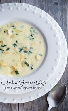 Enjoy one or your favorite restaurant copycat soups at home with my version of Olive Garden's Chicken Gnocchi Soup. Do you love Olive Garden's Chicken Gnocchi Soup and wish you could eat it more often? Now you can with this homemade copycat. Think Food, I Love Food, Olive Garden Recipes, Olive Garden Soups, Copycat Olive Garden Soup, Soup Recipes, Cooking Recipes, Gnocchi Recipes, Free Recipes