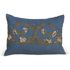 Check out this item at One Kings Lane! Metallic & Chenille Embroidered Pillow