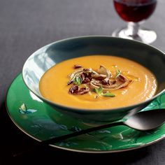 Red Kuri Squash Soup - A recipe by Alice Waters. I made this today with an additional 4 cloves of garlic. It turned out amazing!