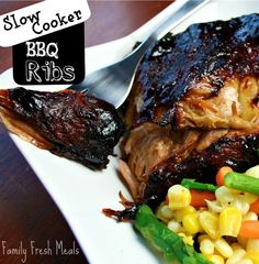 Slow Cooker Barbecue Ribs. I made these and they were so easy! I didn't need to cook mine quite as long. Maybe 5 hours on low. Yummmmm so easy!