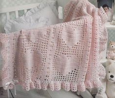 Hearts Baby Afghan Crochet Patterns - 6 Beautiful Designs - Valentine's Day