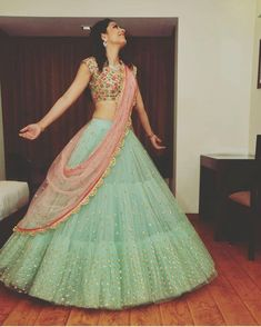A Light Green Color Embroidered Fully Designer Lehenga Choli Half Saree Designs, Choli Designs, Lehenga Designs, Lengha Design, Indian Bridal Outfits, Indian Bridal Lehenga, Indian Designer Outfits, Indian Wedding Gowns, Sari