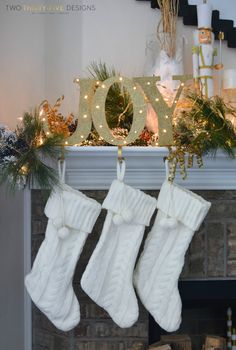 christmas holiday mantel two thirtyfive designs - Pinterest Decorating Mantels For Christmas