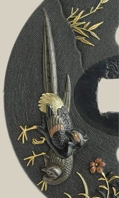 Detail of Tsuba (sword guard) made by ISHIGURO Koreyoshi (the end of Edo period: 1800s), Japan 石黒是美 (image via Kumi Ito on Pinterest]
