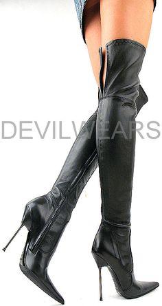 Gianmarco Lorenzi Black Stiletto OTK Boots #GML #Lorenzis #Shoes