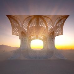"""Josh Haywood creates temporary """"temple""""  out of plywood for Burning Man Festival. University of Westminster Graduate 2014"""