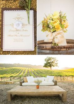 gold/yellow/white/green theme for vineyard wedding in the fall