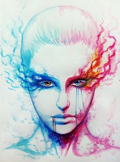 Bipolarity – Print - 50 Mind Blowing Watercolor Paintings <3 <3