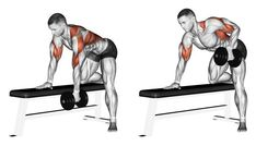 End dumbbell with one hand. End dumbbell with one hand. Exercising for bodybuilding. Target muscles are marked in red. Initial and final steps stock illustration Fitness Workouts, Gym Workout Tips, Workout Women, Fitness Motivation, One Arm Dumbbell Row, Traps Workout, Back Exercises, Training Exercises, Shoulder Workout