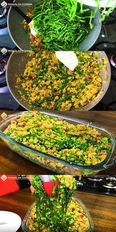 ALMOÇO FÁCIL – FAROFA DE COUVE DELICIOSA #farofadecouve #farofa #couve #almoco #jantar #cozinha #receita #receitafacil #receitas #comida #food #manualdacozinha #aguanaboca #alexgranig Vegetarian Recipes, Cooking Recipes, Healthy Recipes, Brazilian Dishes, Good Food, Yummy Food, Portuguese Recipes, Vegetable Dishes, Food Dishes
