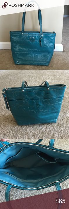 Authentic Coach Purse Great condition! On the front of the purse shown in the last picture there are two marks on it. Two spots are small, not really noticable. The marks were already on the purse when i originally bought it. Gently used. Only used a few times. Coach Bags Totes