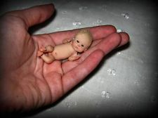 OOAK MINIATURE 1/12 BABY BOY~REALISTIC NEWBORN MINI DOLL~BY S.BARTHOLOMEW