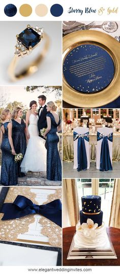 This color palette is elegant and dreamy,  blue and gold classic wedding party ideas