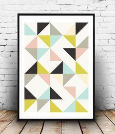 Triangles imprimer, imprimer géométriques, Triangles Wall Art, art scandinave, décoration maison, sticker, impression de Colorful, sticker géométrique
