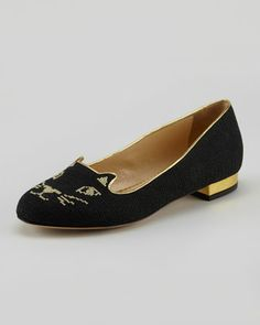 Kitty Cat-Embroidered Slipper, Black by Charlotte Olympia at Neiman Marcus.