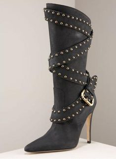 Manolo Blahnik studded strapped boot