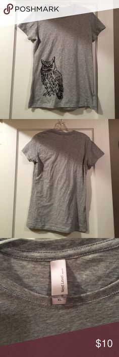 Owl T shirt NWT very soft light grey short sleeve shirt with owl design Next Level Apparel Tops Tees - Short Sleeve