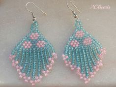 BRINCOS Franjinha Turquesa e rosa (4 EUROS)/ Pink and Turquoise Fringe EARRINGS //// #ACBeads