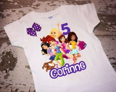 Personalized Lego Friends Shirt with Name and Age with Bow