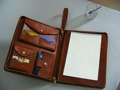 Apple iPad Portfolio Case and Briefcase with Notepad and Passport pocket with handles and iPad Mini Pocket and Phone Pockets