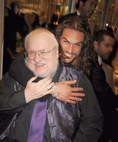Drogo, aka Jason Momoa, with GRRM. Love the book series AND the show!! Can't get enough!!