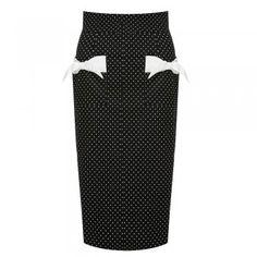 Elvgren Black Polka Dot Wiggle Skirt   Vintage Style Skirt - Lindy Bop