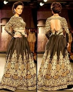 Dazzling black and bronze lehenga choli