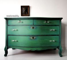 Chippy shabby chic dresser - green