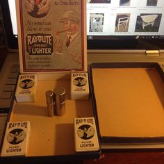 Thinking about selling the set of Ray-O-Lite Catalytic lighters I have.  4 new in box one out of the box in the little dealers box.  Very rare to see these.  Only as a set!  Tell me if you would be interested they aren't cheap.  #antiques #lighter #catalytic #pyro #collector #rare #vintage #1920s by bladefinger