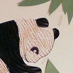Quilled Panda Framed handcrafted original wall art for babys room | QuillingbySandraWhite - Children's on ArtFire