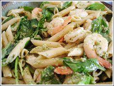 Green House on top of the Hill: Lemon Pesto Shrimp Pasta Salad Pesto Shrimp, Pesto Pasta Salad, Shrimp Pasta Recipes, Seafood Recipes, Cooking Recipes, Seafood Pasta, Healthy Food Options, Healthy Recipes, Gluten Free Pasta