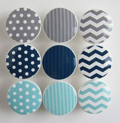 Navy Blue, Gray, Light Turquoise Pattern Knobs, Polka Dots, Stripes, Chevron Knobs- Wood Knobs- 1 1/2 Inches - Set of 9